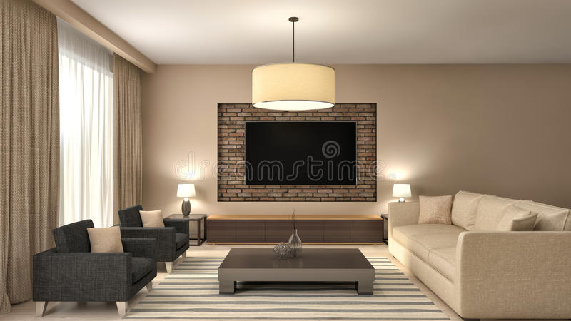 Diseño interior de la sala de estar marrón moderna ilustración 3D libre illustration