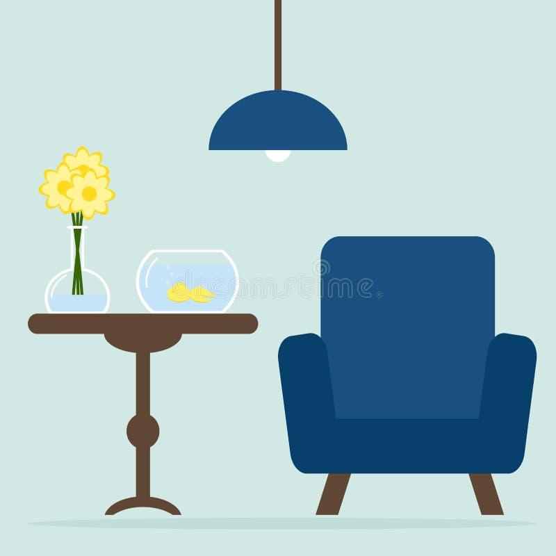 Diseño interior de la sala de estar moderna con la butaca, tabla, acuario Flores stock de ilustración