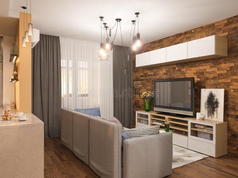 diseño interior de la sala de estar del ejemplo 3d Apartamento-estudio moderno en el estilo minimalista escandinavo ilustración del vector