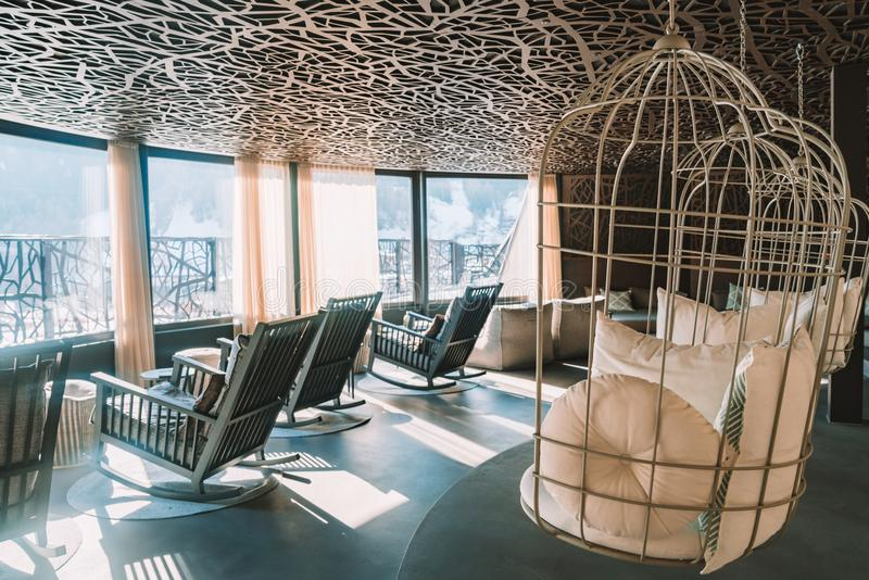 Hotel De Lujo De La Montaña Piscina Interior Fotos De Stock