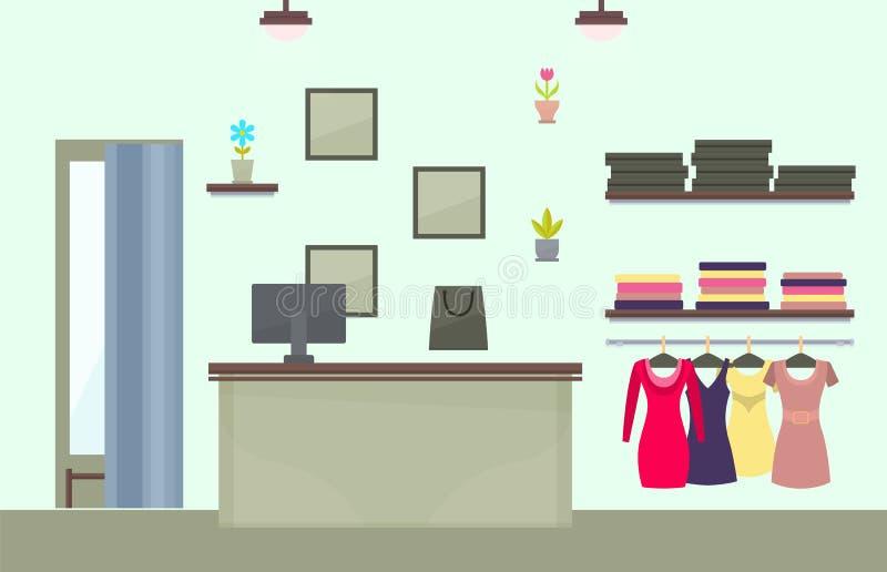 Diseño interior de la tienda femenina de moda de la ropa ilustración del vector
