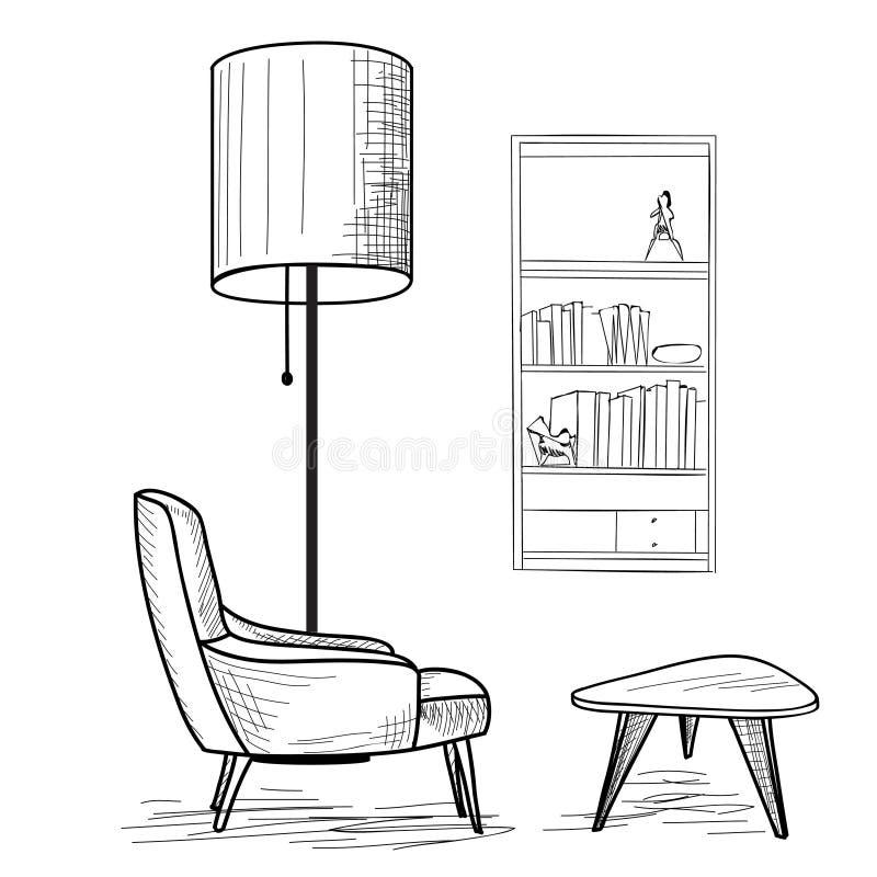 Diseño interior de muebles del salón de la sala de estar stock de ilustración