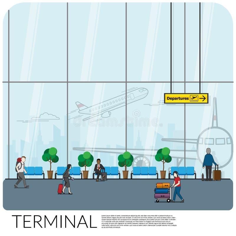 Diseño interior de pasillo de la puerta de salida que espera en el terminal de aeropuerto moderno con muchos pasajero como turist stock de ilustración