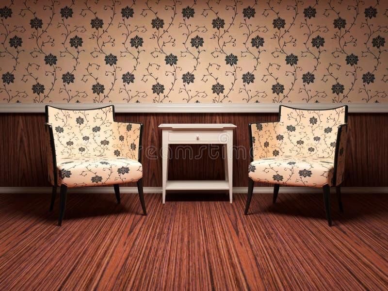 Diseño interior de sala de estar moderna stock de ilustración