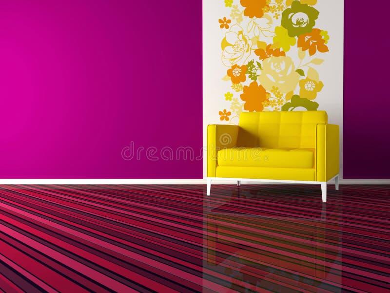 Diseño interior de sala de estar rosada moderna stock de ilustración