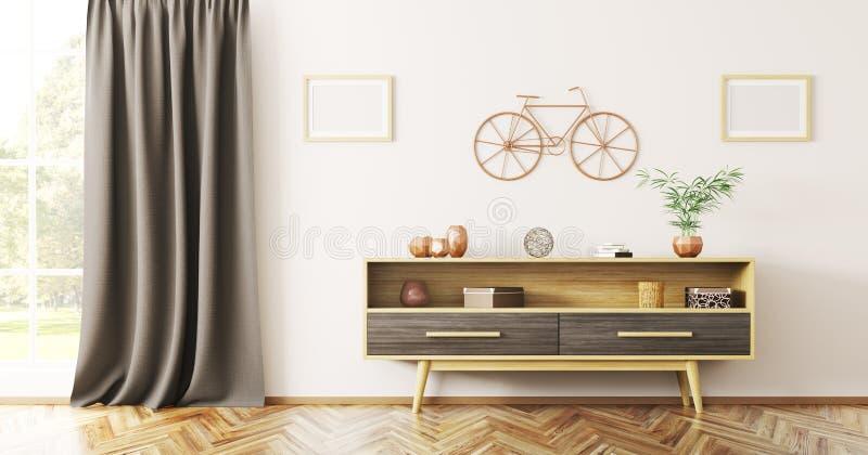 Diseño interior de sala de estar con la representación de madera del aparador 3d libre illustration