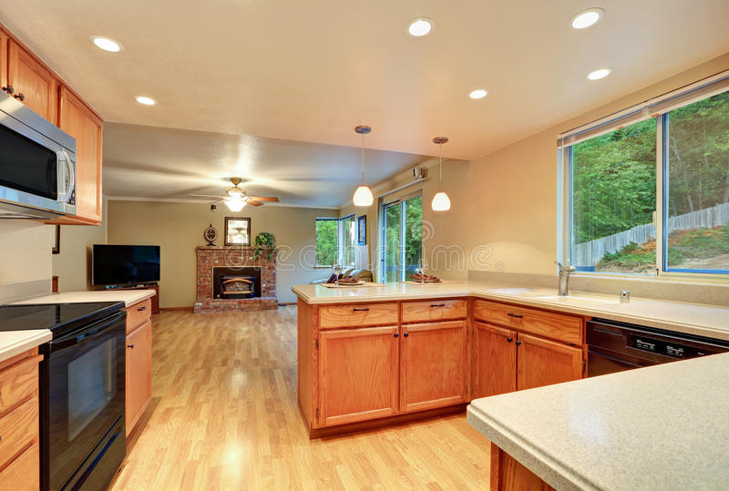Diseño Interior De Sitio Agradable De La Cocina Con La Opinión De La ...