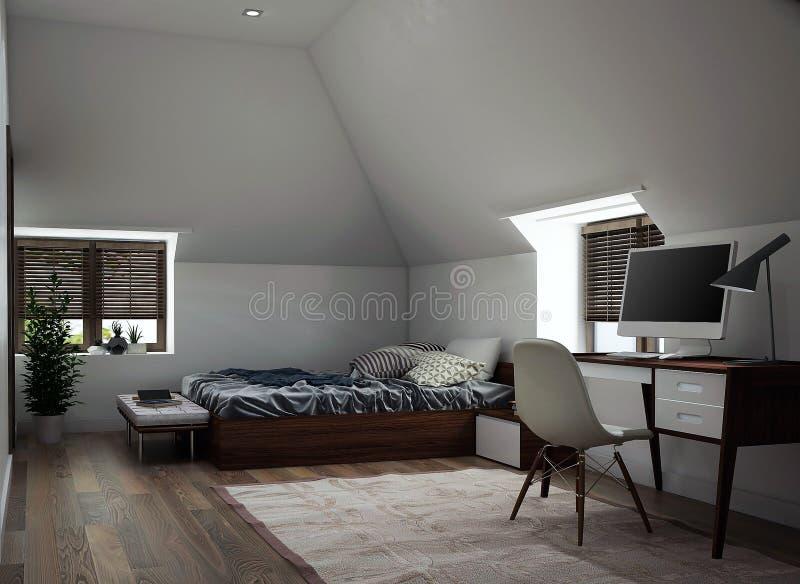 Diseño interior de un dormitorio foto de archivo