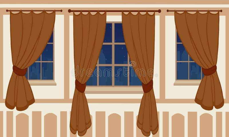 Diseño interior de ventanas en el apartamento urbano libre illustration