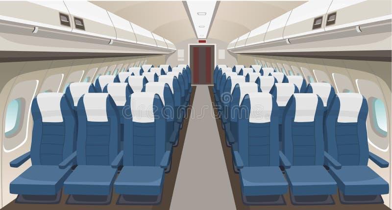 Diseño interior del aeroplano Asientos, portas y luces del aeroplano del pasajero Interior interior del salón de los aviones Inte stock de ilustración