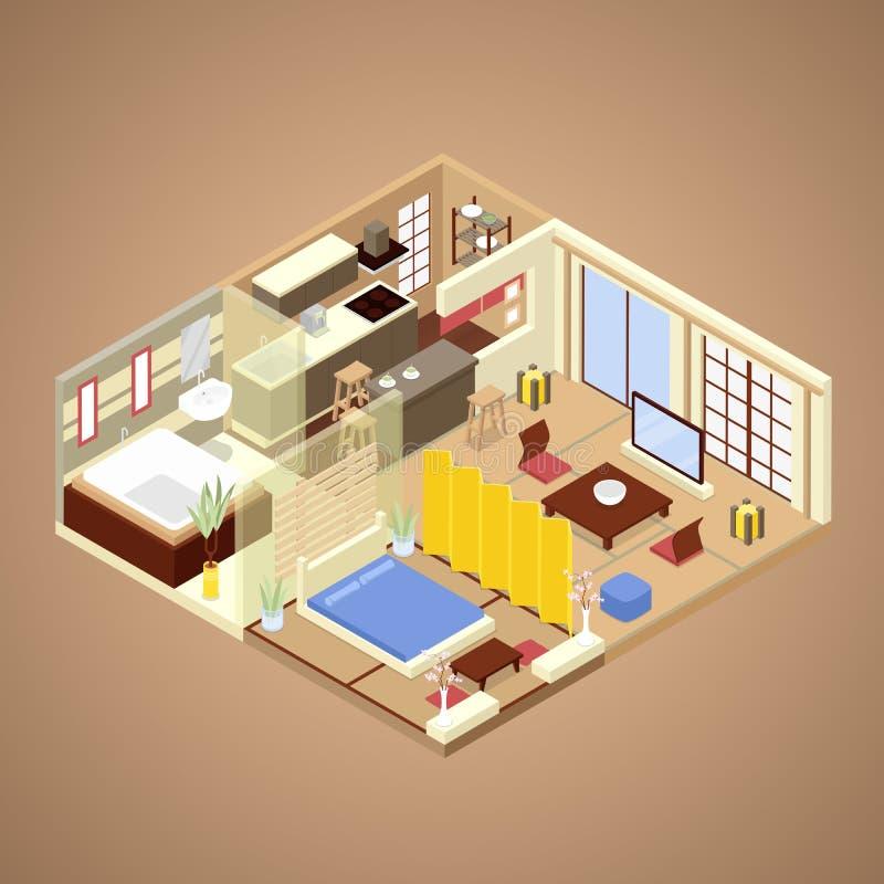 Diseño interior del apartamento del estilo japonés con la cocina, el dormitorio y el cuarto de baño Ejemplo plano isométrico ilustración del vector