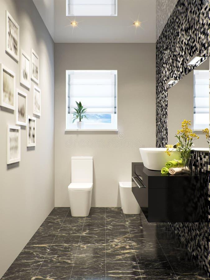 Dise o interior del cuarto de ba o moderno blanco y negro Mosaico para bano precios