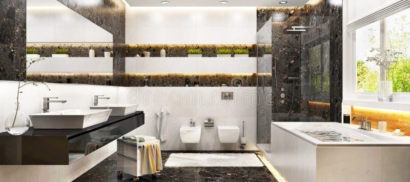 Diseño interior del cuarto de baño moderno con el mármol blanco y negro fotografía de archivo libre de regalías
