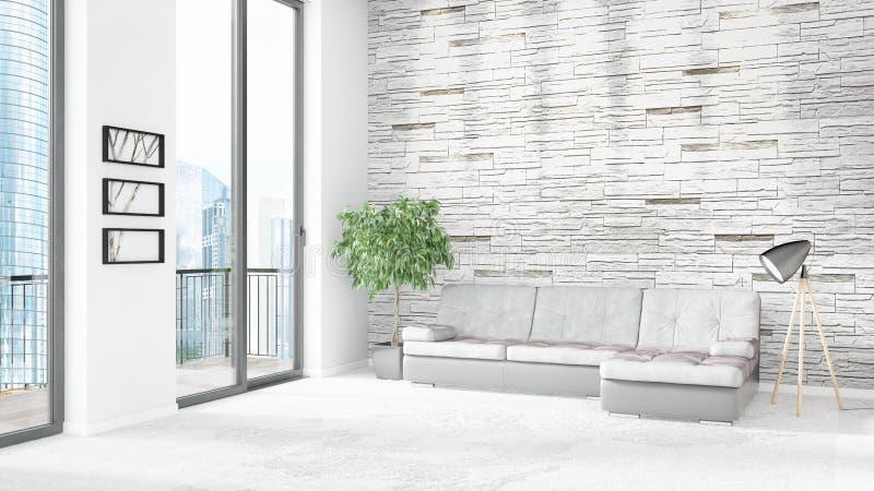 Diseño interior del desván del estilo mínimo blanco a estrenar del dormitorio con la pared del copyspace y visión fuera de la ven ilustración del vector