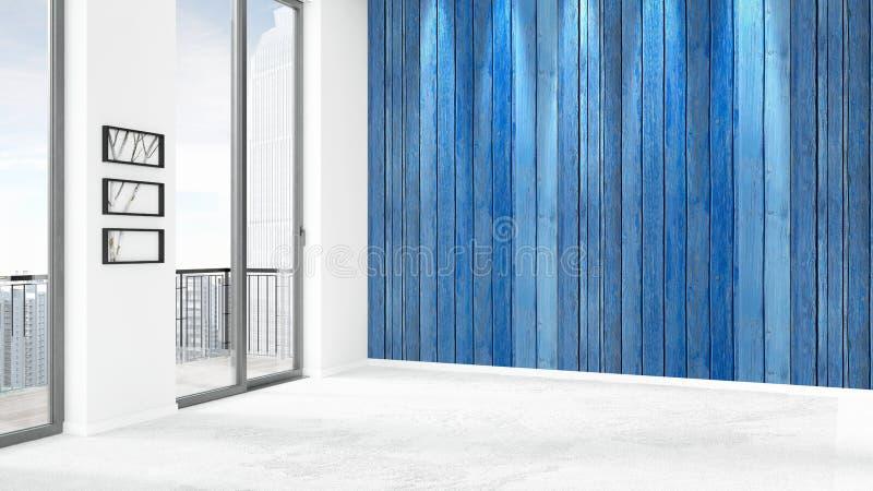 Diseño interior del desván del estilo mínimo blanco a estrenar del dormitorio con la pared del copyspace y visión fuera de la ven stock de ilustración