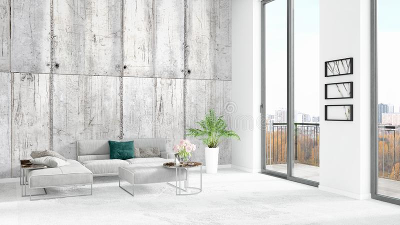 Diseño interior del desván del estilo mínimo blanco a estrenar del dormitorio con la pared del copyspace y visión fuera de la ven libre illustration