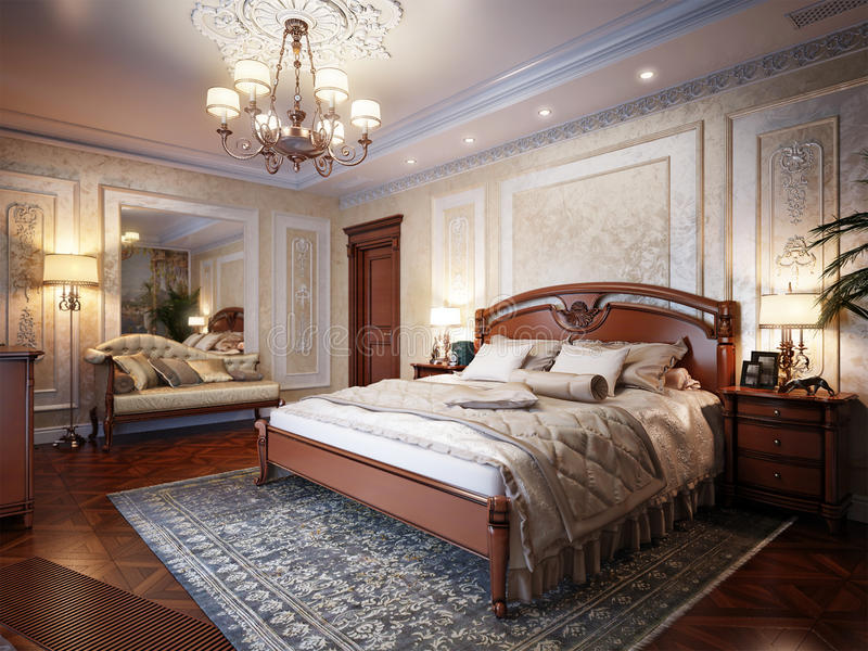 Diseño interior del dormitorio de lujo en estilo clásico libre illustration