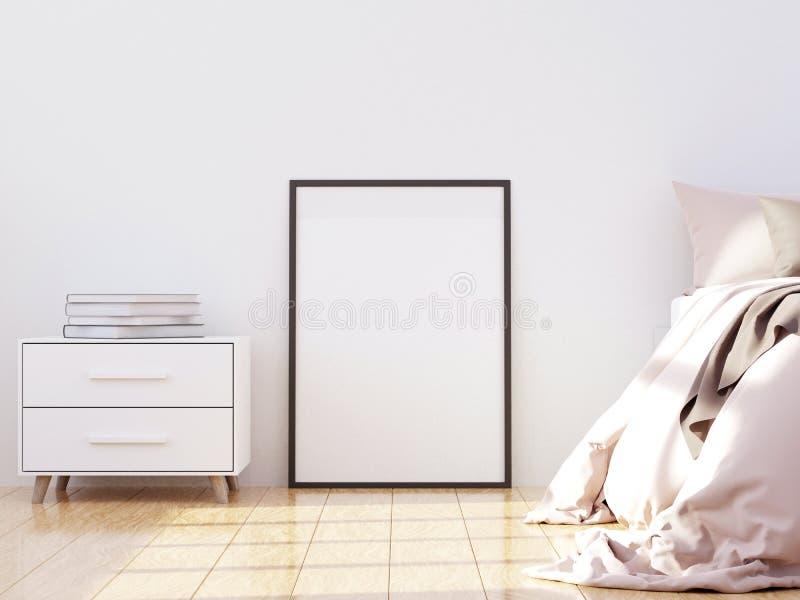 Diseño interior del dormitorio moderno brillante y acogedor, paredes ligeras, manta gris, almohadas suaves, muebles blancos 3d ri stock de ilustración