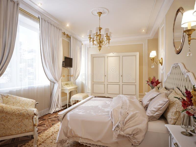 Diseño interior del dormitorio moderno clásico de lujo libre illustration