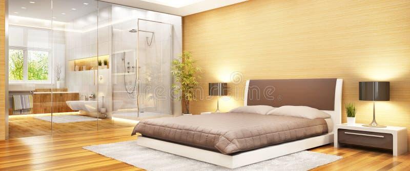 Diseño interior del dormitorio moderno combinado con un cuarto de baño moderno stock de ilustración
