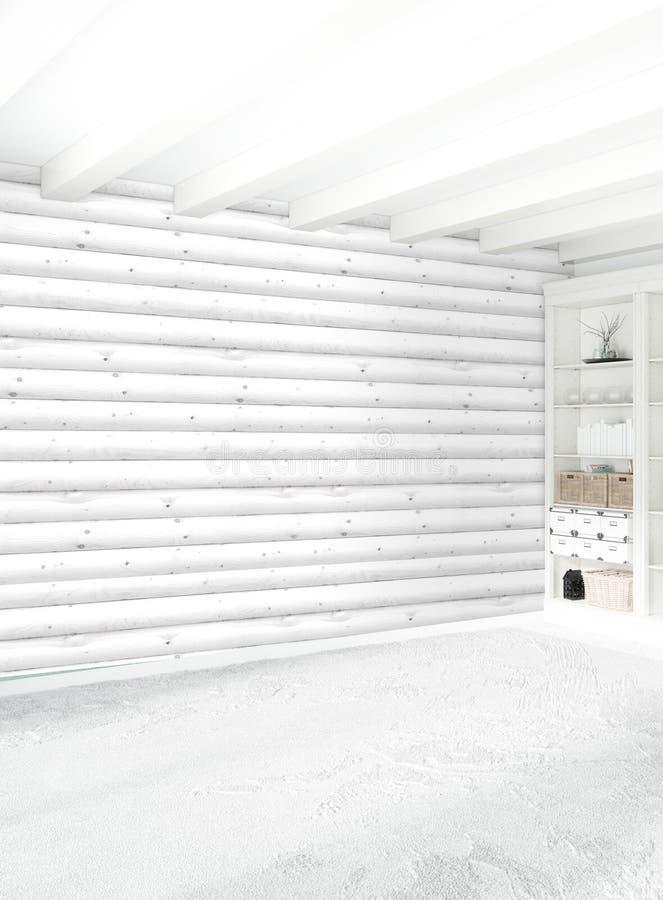 Diseño interior del estilo mínimo blanco del dormitorio con la pared de madera representación 3d ilustración 3D ilustración del vector
