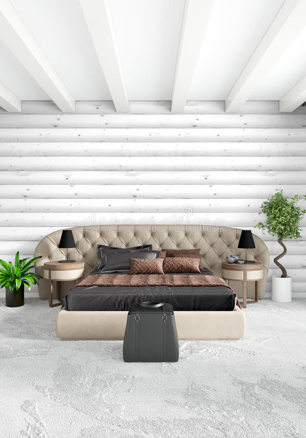 Diseño interior del estilo mínimo blanco del dormitorio con la pared de madera y el sofá oscuro representación 3d ilustración 3D libre illustration