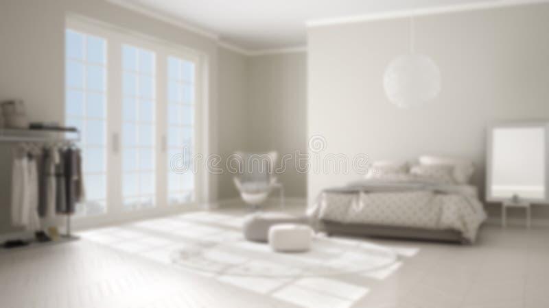 Diseño interior del fondo de la falta de definición, dormitorio moderno cómodo con el piso de entarimado de madera, ventana panor stock de ilustración