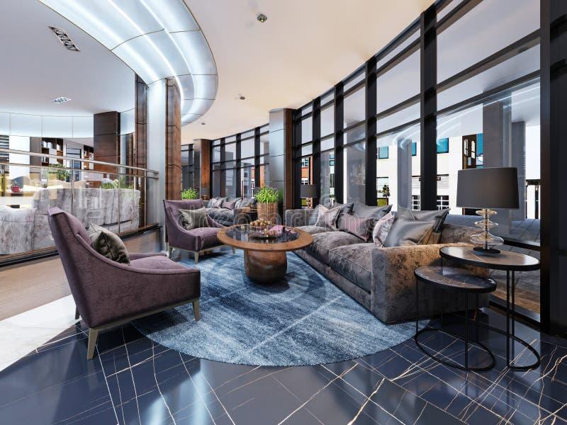 Diseño interior del hotel contemporáneo, pasillo del hotel, zona de descanso con muebles modernos cómodos libre illustration