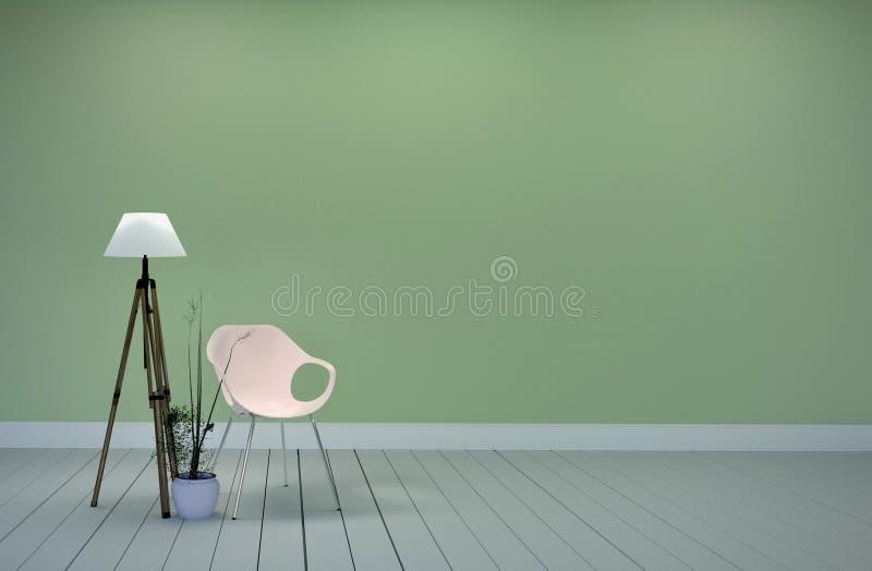Diseño interior del sitio - el estilo del verde de la sala de estar tiene la lámpara y plantas, fondo verde de la silla de la par stock de ilustración