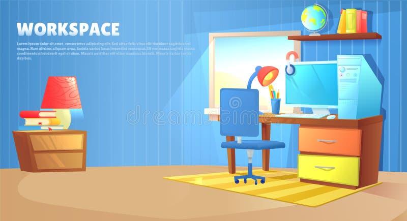 Diseño interior del sitio del muchacho del adolescente Con la cama, lugar de trabajo con el ordenador del escritorio y de la PC,  stock de ilustración