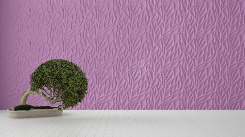 Diseño interior del sitio vacío, el panel moldeado adornado púrpura, piso blanco de madera y planta en conserva, fondo moderno de libre illustration