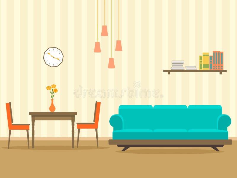Diseño interior en el estilo plano de la sala de estar con muebles, el sofá, la tabla, el estante, la flor, la lámpara y el reloj stock de ilustración