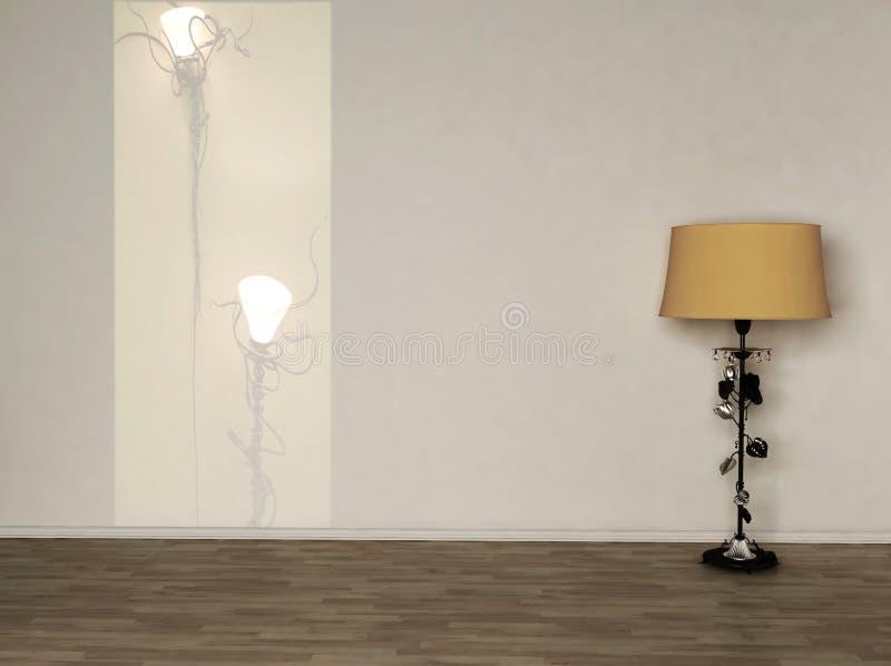 Diseño interior, lámpara de suelo amarilla ilustración del vector