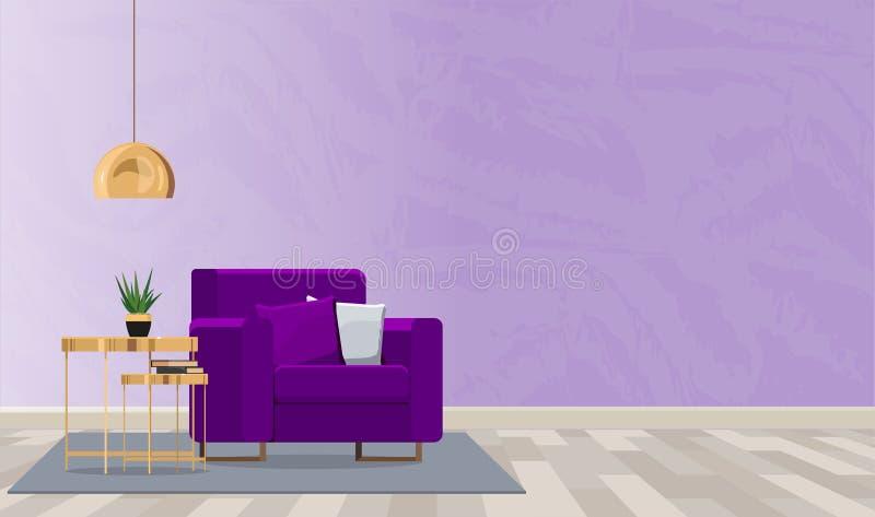Diseño interior lujoso del cuarto con una butaca y una lámpara en los colores violetas Ejemplo plano del vector ilustración del vector