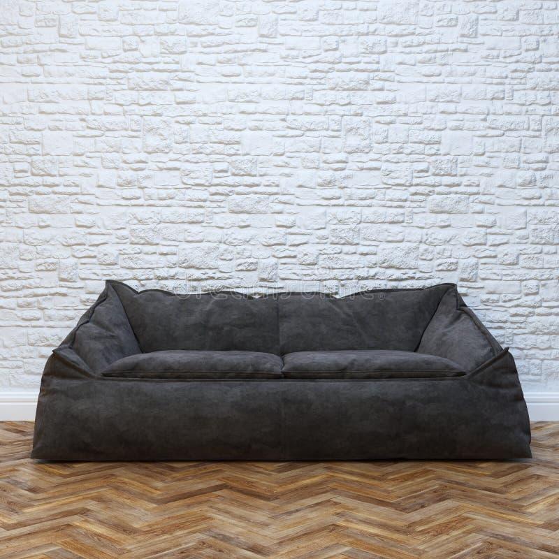 Diseño interior moderno con el sofá negro acogedor fotos de archivo