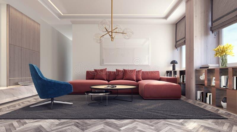 Diseño interior moderno con el sofá rojo y la butaca azul ilustración del vector