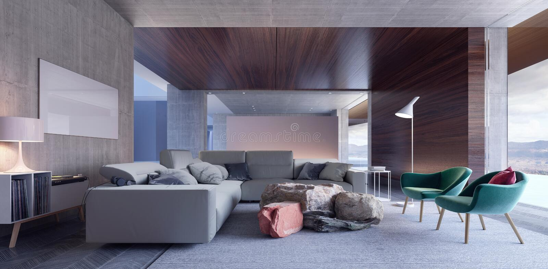 Diseño interior moderno con las butacas verdes ilustración del vector