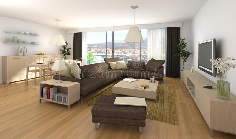 Diseño interior moderno de apartamento stock de ilustración