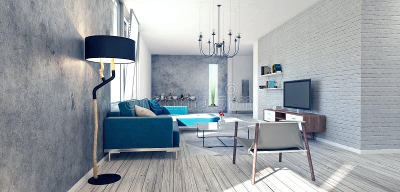 Diseño interior moderno de apartamento foto de archivo