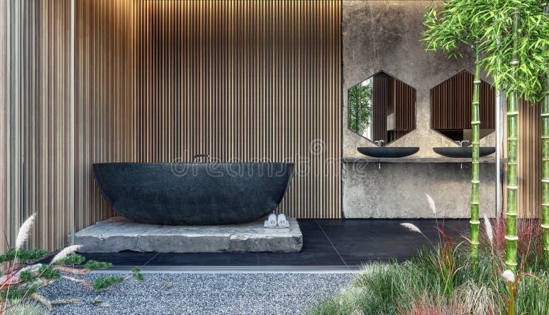 Diseño interior moderno de cuarto de baño con la bañera de mármol negra y los paneles de pared de madera imagen de archivo