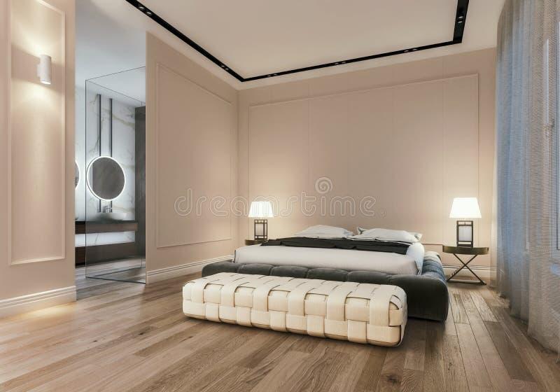 Diseño interior moderno de dormitorio principal con el cuarto de baño grande, cama gigante con las sábanas, escena de la noche ilustración del vector