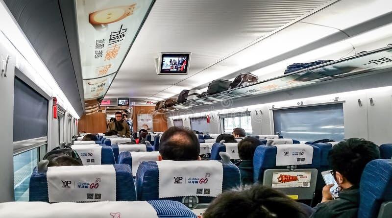 Diseño interior moderno de la cabina del tren de alta velocidad de China fotos de archivo