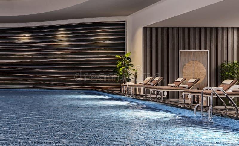 Diseño interior moderno de piscina interior con las camas de la piscina, escena de la noche, centro turístico del hotel, balneari foto de archivo libre de regalías