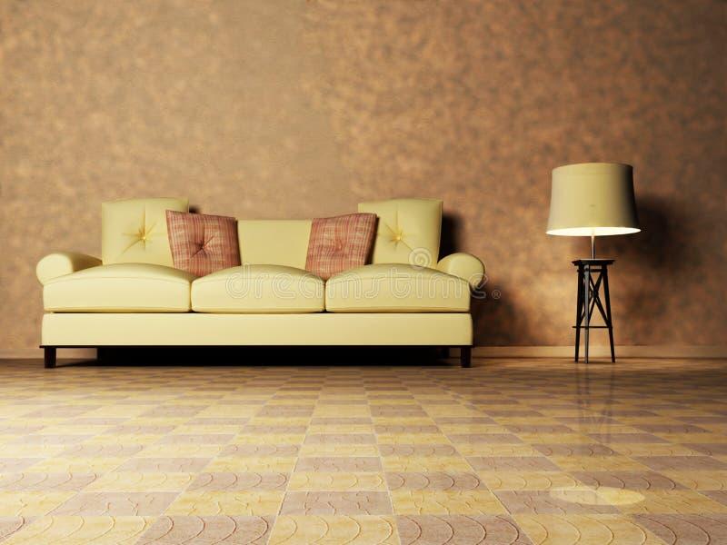 Diseño interior moderno de sala de estar stock de ilustración