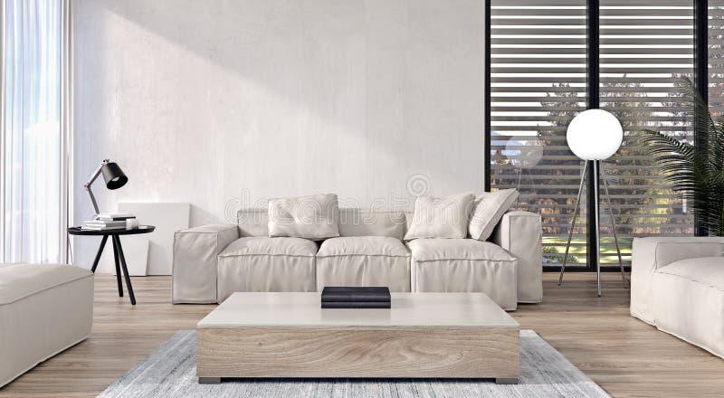 Diseño interior moderno de sala de estar con muebles italianos del estilo y puertas deslizantes y ventanas grandes, jardín y árbo stock de ilustración