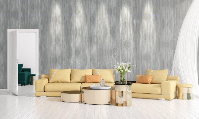 Diseño interior moderno de sala de estar en voga con la planta, diván amarillo, copyspace Arreglo horizontal representación 3d ilustración del vector