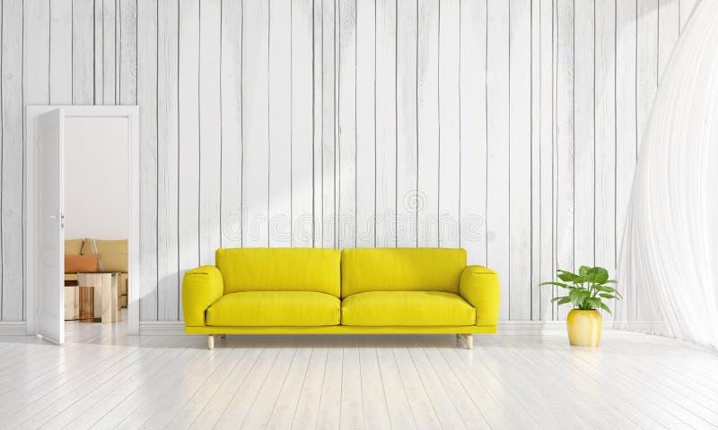 Diseño interior moderno de sala de estar en voga con la planta, diván amarillo, copyspace Arreglo horizontal representación 3d libre illustration