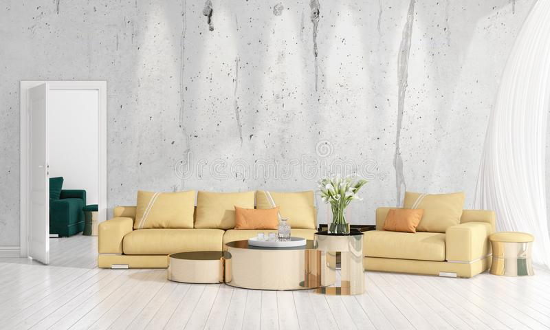 Diseño interior moderno de sala de estar en voga con la planta, diván amarillo, copyspace Arreglo horizontal representación 3d imagen de archivo libre de regalías