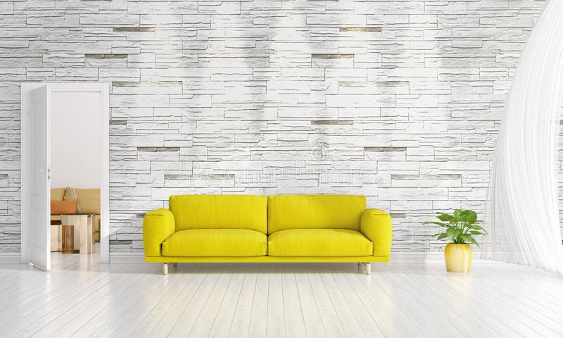 Diseño interior moderno de sala de estar en voga con la planta, diván amarillo, copyspace Arreglo horizontal representación 3d foto de archivo