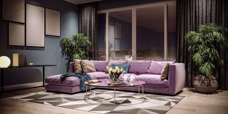 Diseño interior moderno de sala de estar, horizonte de la ciudad de Taiwán, Taipei imagen de archivo